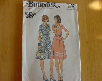 VINTAGE 1970s Butterick Pattern 4111,  Misses Dress and Belt, Size 14, Bust 36