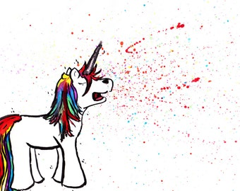 "8x10 Rainbow Art Print ""Unicorn Sneeze"" by Ally Cross"