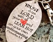 Trust in the Lord with all your heart and Lean Not on your own understanding Proverbs 3:5 Keychain, Religious Keychain Scripture Gift