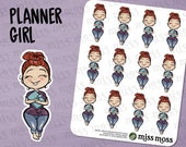 Planner Girl Stickers, Caucasian Asian, Plus Size, Curvy, White Girl - Erin Condren, Happy Planner, Filofax, Decorative