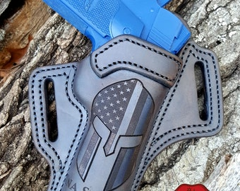 Handmade Spartan Helmet with a Thin Blue Line 1911 Pistol Holster with Combat Cut Draw, American Flag