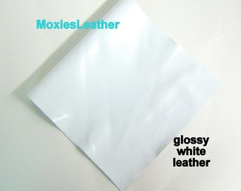 white patent leather piece - genuine soft leather in shiny white patent - pick size for tassels , fringes or solid leather piece