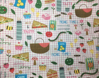 Timeless Treasures Fabric fat Quarter Picnic Time Pink Gingham