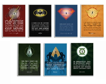 Choose Justice League print Set of 3,4,5,6,7.  Minimalist Superhero Typography,Wall art,DC Comic gift,Hero Quote Art print Gift for him