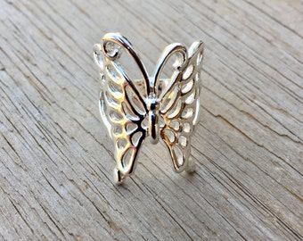 Butterfly . Sterling Silver *Plated* . Ring . Size 7