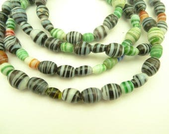 "32"" mixed swirled wound glass trade beads African tribal components AB-0007"