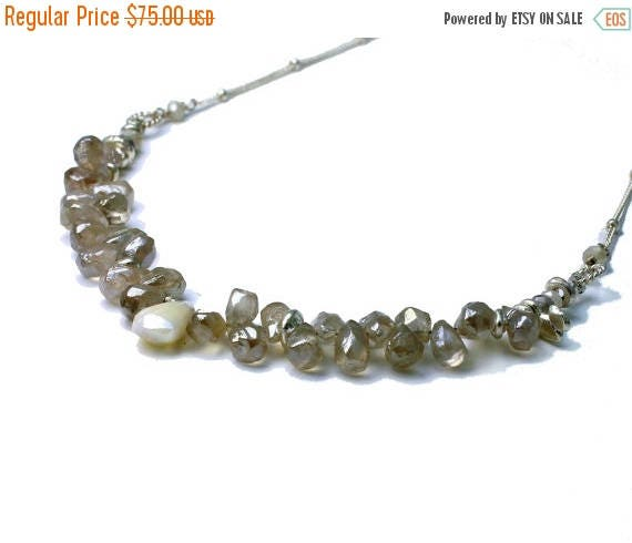 20% off. Mystic Chalcedony necklace. Briolette Necklace. Gemstone Necklace in Whites and Greys. Silver Necklace.  NS-2113