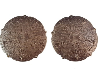 Two 47mm Rhapsody medallion Vintaj natural brass pendant - brass focal - brass medallion