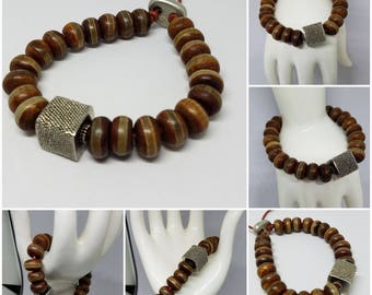 Tibetan Agate, Sterling Silver, and Leather