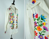 Vintage 1960's Embroidered White Cotton Hippy Blouse - Flower Power Rainbow festival top - Long Sleeve Button up Summer Blouse - medium