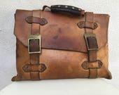 Reserve for Bob Vintage funky rustic handmade leather briefcase messager bag