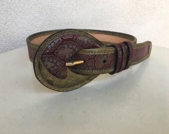 "Vintage burgundy paisley gold leather belt Carlos Falchi fits 25-29"""