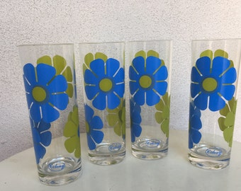 Vintage tall tumblers glasses 10oz flower power green blue set 4by Colony