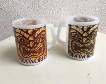 Vintage souvenir mugs set 2 Sea World Federal Milk Glass Tiki theme