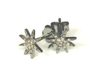 Pave Diamond Starburst Studs  Rhodium Plated Diamond Stud Earrings,  Black Star Earrings Compass Studs  Artisan Handmade by Sheri Beryl