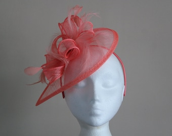 Coral Orange Pink Fascinator and Feather Fascinator on a hairband, weddings, Kentucky Derby, Ascot, Melbourne Cup