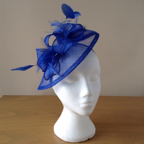 Cobalt Blue Fascinator and Feather Fascinator on a hairband, races, weddings, special occasions, Kentucky Derby, Royal Ascot
