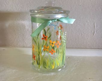 Painted Glass Jar With Lid, Intention Jar, Dream Jar, Florida Glass Decor, Cotton Jar, Herb & Tea Jar, Money Bank