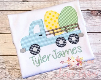 Easter egg flatbed truck Shirt or Bodysuit - Monogrammed, Applique, Embroidered, Personalized, for boys, gingham