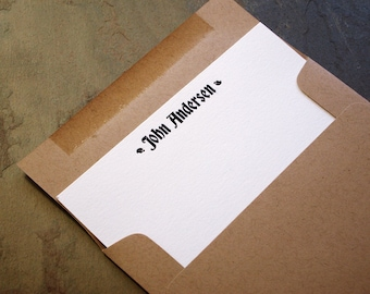 Unique Letterpress Stationery Set - Custom Flat Note Cards - Recycled Kraft Gray Fletcher