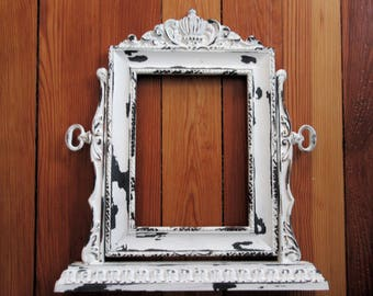Ornate White Shabby Chic Picture Frame~Tilt Swing Vintage Style Picture Frame~Glass Backing Nursery Wedding Romantic Cottage Chic Frame