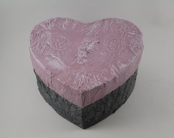 Heart Box Valentine's Day Gift, Rose Wedding Bridesmaids Gift Pink Grey Thank You Favors
