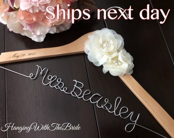 Rush order, Personalized Wedding hanger, custom wire hanger, bridal hanger, bride gift, bridesmaids gift, custom made hanger
