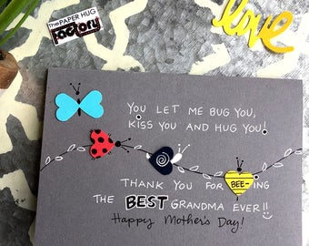 Mother's Day Card for Grandma - Bugs and Kisses