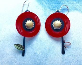 Red Poker Flower Earrings