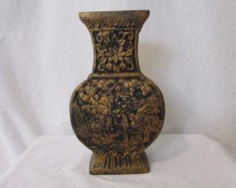 Vintage Japanese Red Clay Vase Garden Scene Gold & Black 50/60s Made In Japan