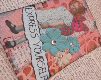 "SALE ACEO ATC one-of-a-kind Original ""Express Yourself"" Artist Trading Card"