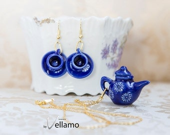 Delicate blue teapot, coffee pot pendant teacup earrings cute jewelry set, porcelain, small teapot with white flowers pattern, gold plated