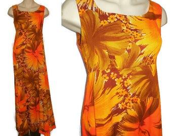 SALE Vintage Hawaiian Dress Long 1960s Orange Hibiscus Floral Print Maxi Dress Sleeveless Luau Dress Made in Hawaii Pop Mod M chest to 38