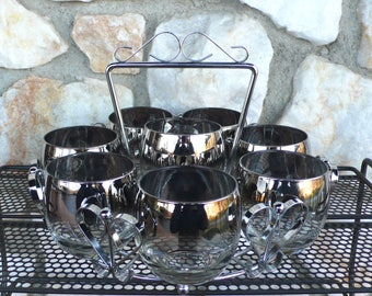 Vintage Mid Century Modern Silver Rimmed Fade Roly Poly Glasses with Carrier