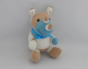 Rhinoceros Plush Toy,  Rhino Plushie, Stuffed Animal, Stuffed Toy, Sock Monkey