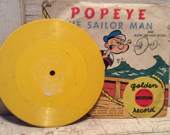 Vintage Record, Little Golden, Records, Popeye, Yellow Record, 78 RPMS, Sailor, Cartoon, 1950s, Vintage Ephemera, College, All Vintage Man