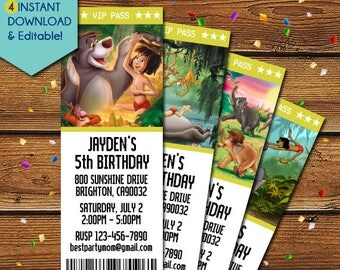 Jungle Book Invitations, Jungle Book Birthday Invitations, Jungle Book Baby Shower Invitation, Jungle Book Party Invitation, Party Invites