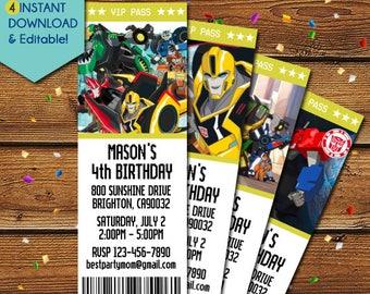 Transformers Invitation, Transformers Birthday Invitation, Transformers Party Invite, Transformers Ticket Invitations, Transformers Invite
