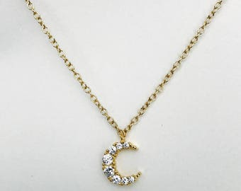 18k gold plated Cubic Zirconia Pave setting moon necklace