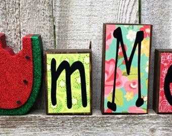 Summer Wood Block Set with Watermelon | Summer Decor Watermelon Blocks | Wooden Watermelon Summer Decoration | Birthday Gift | Farmhouse