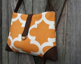 Handbag Shoulder Tote in Spice Orange and Cream
