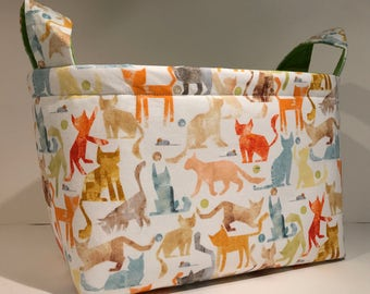 Fabric Storage Basket Bin Organizer Storage Container-  Pastel Smarty Cat Print on White with Chartreuse Interior