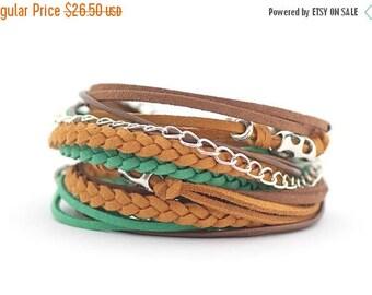 Mothers Day Mustard Green Brown Boho Wrap Bracelet, Emerald Bracelet, Hippie Gypsy Style Bracelet, Autumn trends Jewelry, gift for her, boho