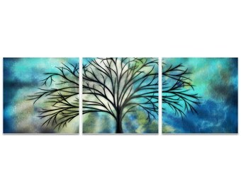 Whimsical Tree Art 'Moonlight Triptych Large' by Stephanie Fields - Abstract Landscape Fantasy Artwork on Metal or Acrylic