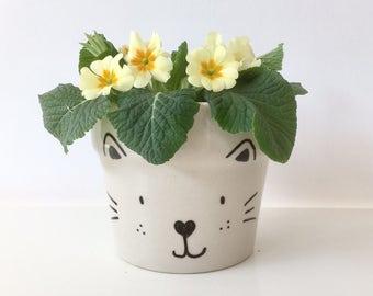 happy cat flowerpot - meow