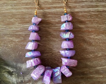 Stunning Rock Candy Quartz Chip Layering Necklaces in Lilac Opal