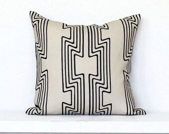 Citiscape Deco Stripe Linen Pillow Cover - Taupe Combo