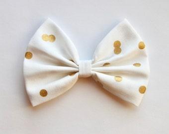 Emma Hair Bow - White & Metallic Gold Polkadot Print Hair Bow with Clip