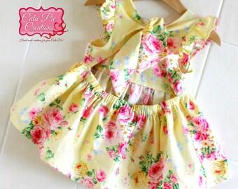 Yellow Floral Girls Top Dress - Girls Tunic, Girls Top, girls dress, Summer Top, beach top, toddler top, open back top, floral top,