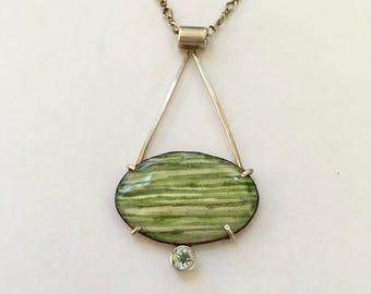 Green Stripped Enamel Pendant